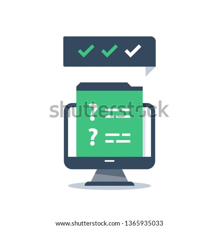 Online exam, internet questionnaire, web survey, fast quiz, quick test, question mark, tick mark, complete assignment, training course, education resources, knowledge evaluation, computer monitor icon