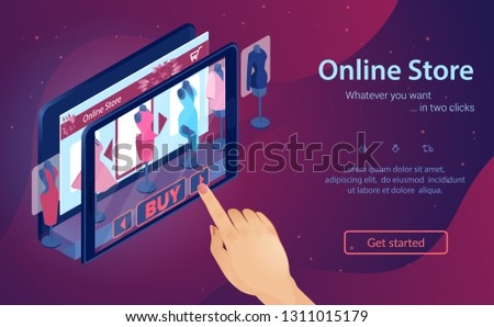 Online Fashion Store. Virtual Shopping at Night. Woman Buys Clothes Online. Hand Chooses Dress on Screen. Buy with Mobile App. Internet Shop in Tablet. Sales and Marketing. Isometric Vector EPS 10.