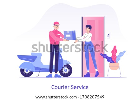Online fast delivery or courier service concept. Young delivery man or courier delivering a package or box to happy woman with moped. Doorstep delivery to home or office. Vector illustration