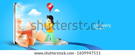 Online fast delivery services buy in E-commerce. Express delivery mobile concept by phone, Delivery package success sent to home. order by phone online. Vector illustration Photo stock ©