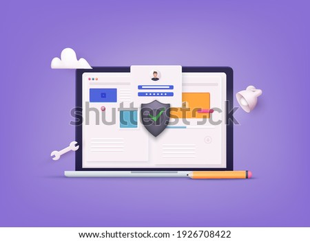 Online file server protection system concept with computer and lock. 3D Web Vector Illustrations.