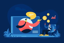 Online financial consulting flat vector illustration. Business investment, budget planning, bank helpline concept. Finance consultant and customer discussing profit. Banker giving advices on Internet