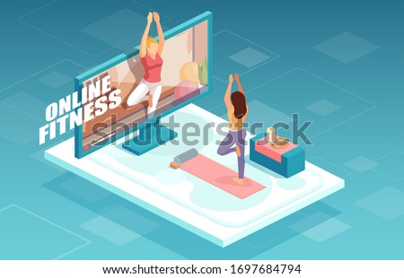 Online fitness and training concept. Vector of a fit woman practicing yoga together with fitness instructor on TV screen.