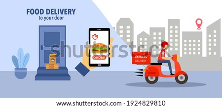 Online food order and food delivery to your door service. Uber eat, grab food, fast food design for landing page, web, poster, flyer. Ready meal logistic with city skyline background.