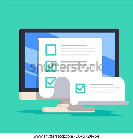 Online form survey on computer vector illustration, flat cartoon desktop pc showing long quiz exam paper sheet document icon. On-line questionnaire results or check list or internet test