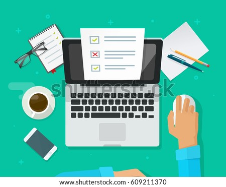 Online form survey on laptop vector illustration, person working on computer showing quiz exam paper sheet document, top view working table flat style design