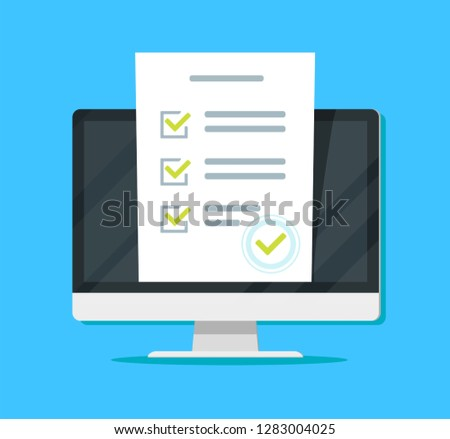 Online form survey on pc computer imac vector illustration, flat cartoon monitor display showing quiz exam paper sheet document, concept of electronic voting on internet, web learning