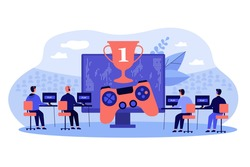 Online gamers playing at pc. People competing in esport tournament for winners cup. Vector illustration for cyber sport competition, virtual online game championship concept