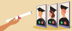 Online graduation ceremony. Flat vector stock illustration. Graduates in the phone, video call. Online graduation from college, university. Quarantine concept. Vector graphics