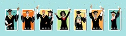 Online graduation ceremony, happy smiling graduate students with diploma, graduate hat stand at phone screens. Diverse young people remote virtual celebration meeting during quarantine vector banner