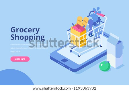 Online Grocery shopping concept. Isometric Shopping cart with  fresh food and drink.Order food, grocery online from app by smart phone. Flat isometric vector illustration.