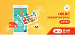 Online grocery shopping promotional sale: shopping cart full of fresh food out coming out from a smartphone and credit card, grocery home delivery and shopping app concept
