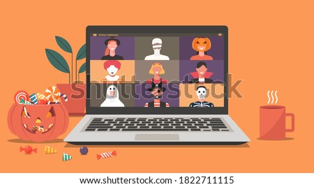 Online Halloween party concept, people in horror costumes on laptop screen have video conference to celebrate festival, friends meeting or connecting together on video call, flat vector illustration