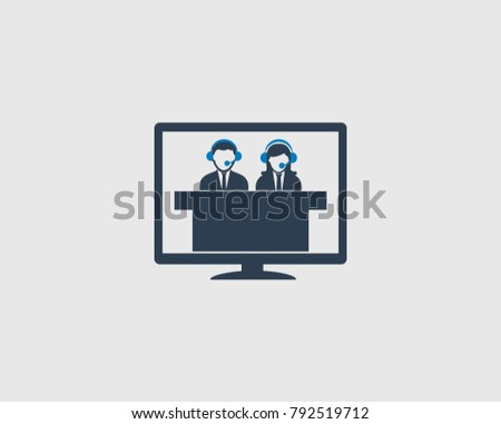 Online Help Icon . Male and Female with desk symbol.