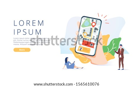 Online Helper Landing Page Offer Fast Delivery. Cartoon People Using Mobile or Computer Application for Ordering Courier Services with Shortest Route. Order Tracking. Flat Vector Illustration