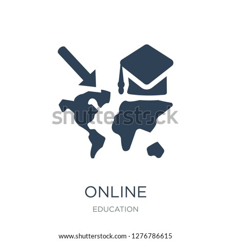 online international educational icon vector on white background, online international educational trendy filled icons from Education collection, online international educational vector illustration