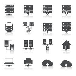 Online internet hosting technology pictograms set of network server infrastructure data center services isolated vector illustration
