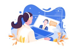 Online Interview concept with character. Can use for web banner, mobile app, hero images. Flat vector illustration on white background.