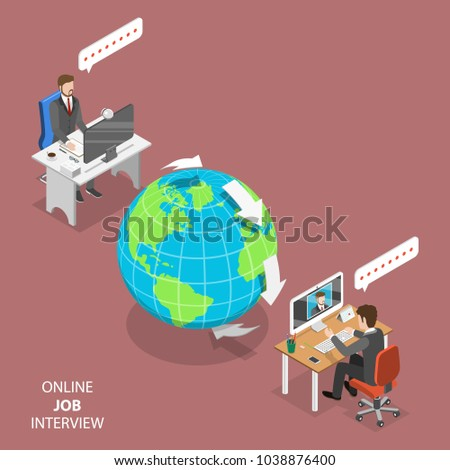 Online job interview flat isometric vector concept. HR manager, located on the other part of the Earth, is interviewing a candidate through video call .