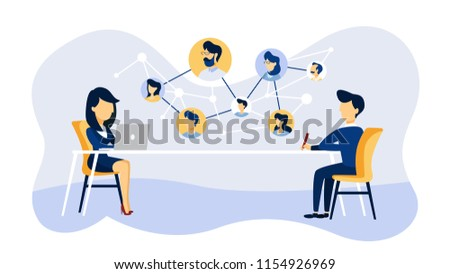 Online job interview. Human resources manager looking for a job candidate in the internet. Recruitment concept. Flat vector illustration