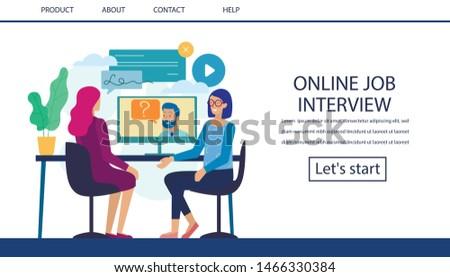Online Job Interview Landing Page. Hiring Process via Video Call on Computer. Female Candidate, HR Manager and Boss Have Internet Chart. Recruitment Agency. Remote Work. Vector Flat Illustration