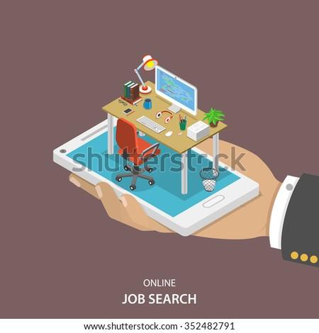 online job searching isometric