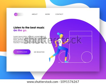 Online landing page of music app. Internet web site template ideal for mobile ui with flat style girl illustration. EPS10 vector.