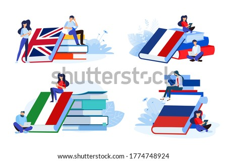 Online language school and courses. Vector illustrations of people in different poses with books for learning a foreign language. Concepts for graphic and web design, marketing material.