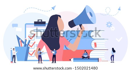 Online learning, choice of courses, exam preparation, home schooling. Education, training courses and tutorials. Online podcast course. mouthpiece, promotion, advertising, call through horn Сток-фото ©
