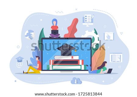Online learning concept. Student learning online at home. People learning on laptop. Online education, e-learning. Flat Vector illustration.
