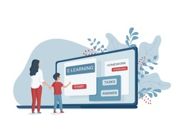 Online learning concept with characters. Mother and son do school homework online.  Flat vector illustration of e-learning. Distance education.