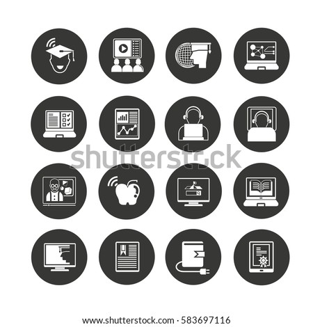 online learning icon set in circle button