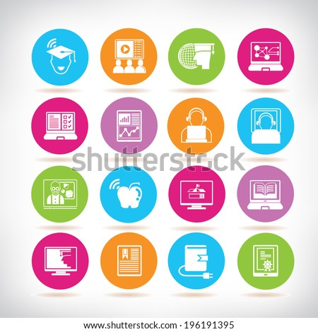 online learning icons, online education color buttons set