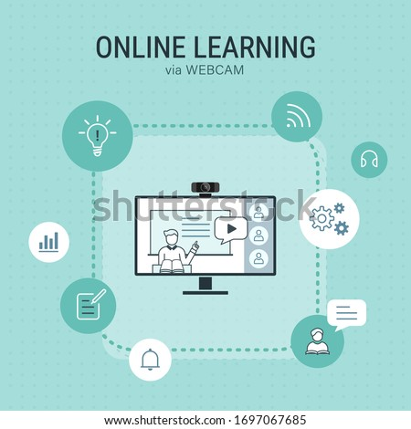 online learning illustration via webcam with education icons on mint background