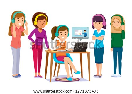 Online learning together through electronic tools. People share and finding self-knowledge anywhere. e-book and video content service at internet.