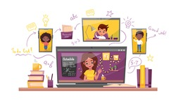 Online learning vector stock illustration. Study at home, online test, distance learning concept. Teacher gets the online lesson with students using a smartphone, laptop and tablet