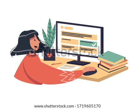 Online learning vector stock illustration. The girl chooses the correct answer in test, smile. The concept of online learning at home, online test, distance learning. A brunette woman with dark skin.