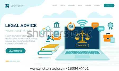Online Legal advice concept. Labor law, Lawyer, Attorney at law. Lawyer website on laptop screen. Professional law attorney consultation online, legal assistance in business. Vector illustration.