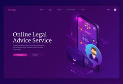 Online legal advice service banner. Assistance of lawyer for regulation legal issues for compliance to rules. Vector landing page of advocate services with isometric smartphone with chat and briefcase