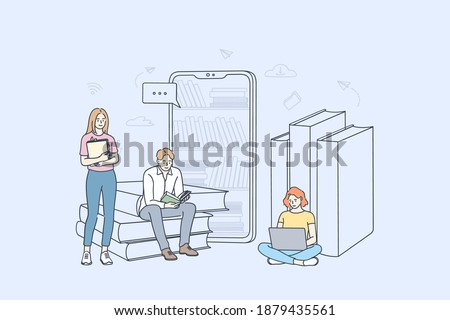Online library and elearning concept. Group of young students cartoon characters learning online, reading e-books and studying with smartphones and laptops better illustration