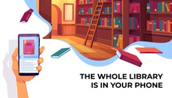 Online library app for reading, banner. Hand holding smartphone with electronic book store application on background with bookshelves, digital technologies in education. Cartoon vector Illustration