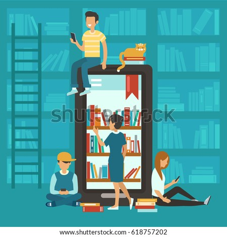 Online library concept. Smartphone with bookshelves and people around. Vector illustration.