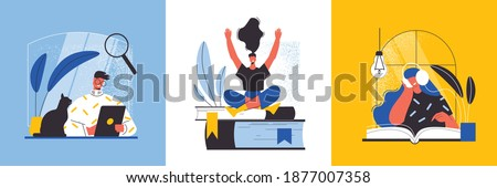 Online library design concept with people reading books in notebook and listening to audiobooks flat vector illustration Photo stock ©