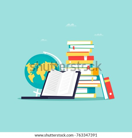 Online library, e-books. Flat design vector illustration.