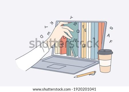 Online library, education in internet concept. Human hand taking e-book from Laptop screen with different books and literature in electronic type for learning and reading vector illustration