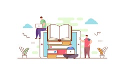 Online library flat vector illustration concept,can be used for landing page, ui, web, app intro card, editorial, flyer, and banner.