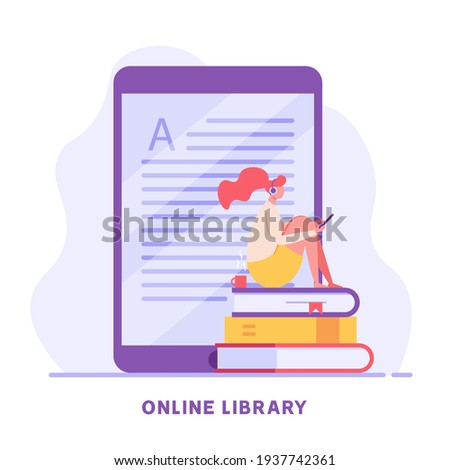 Online Library. People Reading Book with Digital Library Service. Users Studying with Archive of Book. Concept of Electronic Library, Online Book Store, Ebook. Vector illustration for Web Design