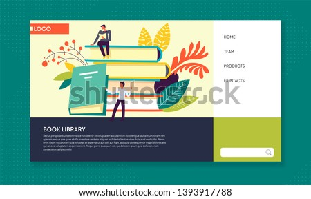 Online literature book library web page template vector textbooks and encyclopedias pile reading Internet portal novels and scientific information site librarian and reader knowledge and education