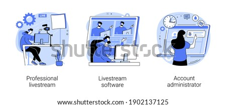 Online live event abstract concept vector illustration set. Professional livestream, software and account administrator, broadcasting service, stream manager, go live in real-time abstract metaphor.