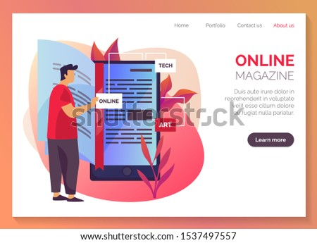 Online magazine and internet library website landing page template, reading media service web banner. Digital magazine, mobile newspaper app and online book shop, vector flat graphic design layout Stockfoto ©